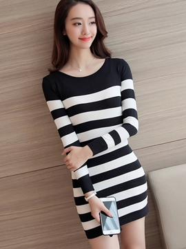 Ericdress Stripe Knitted Bodycon Dress