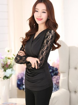Ericdress Solid Color Slim Lace Patchwork T-Shirt