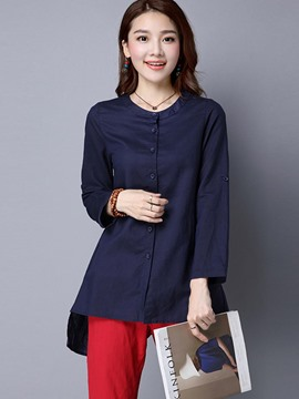 Ericdress Slim Single-Breasted Round-Neck Solid Color Blouse