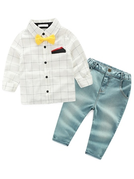 Ericdress Fine Grid Pocket Towel Bowknot Patchwork denim Two-Piece Boys Outfit