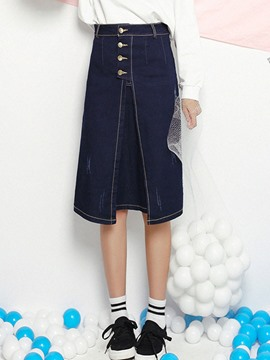 Ericdress Unique Button Denim Skirt