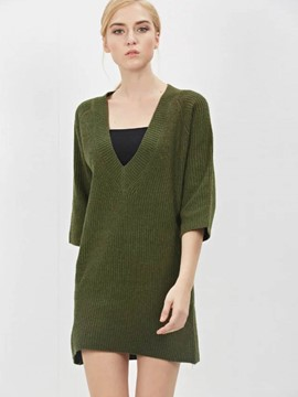 Ericdress Straight V-Neck Casual Solid Color Simple Knitwear