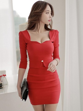 Ericdress Solid Color Square Neck Three-Quarter Sleeve Bodycon Dress