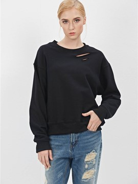 Ericdress Solid Color Loose Ripped Cool Hoodie