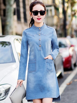 Ericdress Solid Color A-Line Denim Casual Dress
