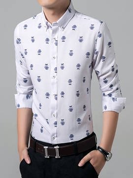 Ericdress Button Down Vogue Print Men's Shirt