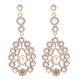Ericdress White Pearls Inlaid Earrings