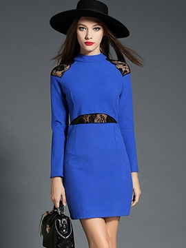 Ericdress Autumn OL Style Solid Color Bodycon Dress
