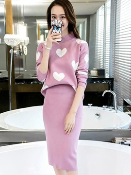 Ericdress Sweet Print Knitwear Suit