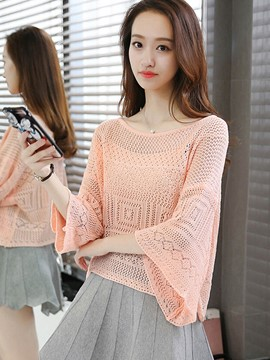 Ericdress Plain Loose Batwing Knitwear