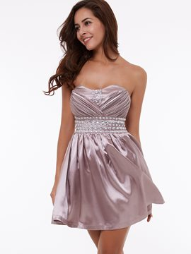 Ericdress A-Line Sweetheart Beading Draped Ruched Short Homecoming Dress
