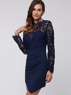 Ericdress Solid Color Lace Patchwork Asymmetric Lace Dress