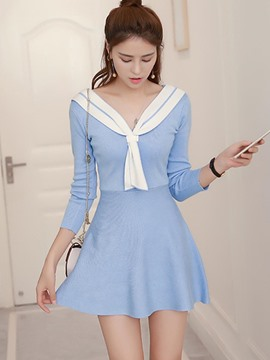 Ericdress Patchwork Long Sleeve Casual Dress