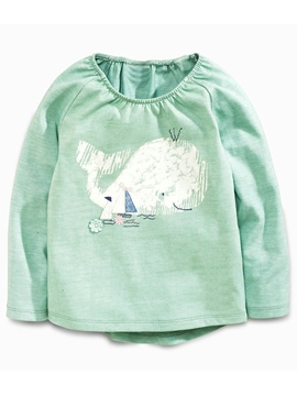 Ericdress Elastic Collar Animal Printed Cartoon Appliques Girls Tops