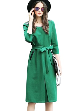 Ericdress Plain Lace-Up Straight Casual Dress