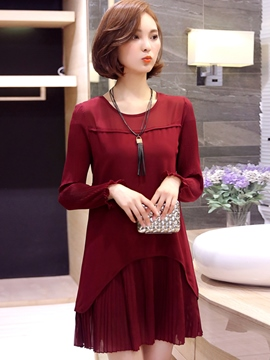 Ericdress Plain Long Sleeve Double-Layer Casual Dress