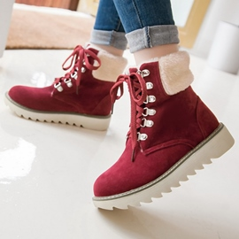 Ericdress Lovely Lace-Up Short Floss Ankle Boots