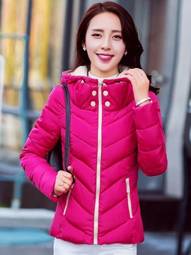 Ericdress Color Block Loose Hooded Cotton Coat