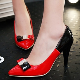 Ericdress Contrast Color Point Toe Pumps with Bowtie