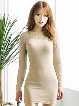 Ericdress Plain Knitted Bodycon Dress