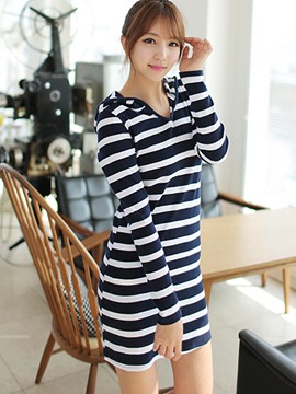 Ericdress Stripe Hooded Long Sleeve Bodycon Dress