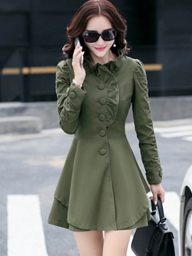 Ericdress Solid Color Slim Frill Trench Coat
