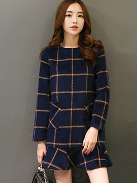Ericdress Autumn Long Sleeve Plaid Mermaid Sweater Dress