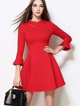 Ericdress Plain Flare Sleeve Patchwork Casual Dress