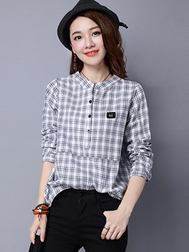 Ericdress Loose Plaid Casual Blouse