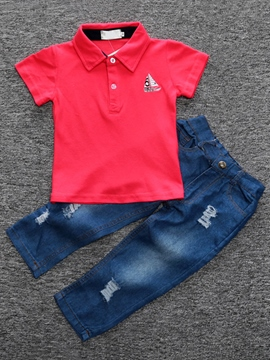 Ericdress Lapel Collar Cotton Embroidery Denim Frayed Two-Piece Boys Outfits
