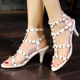 Ericdress Modern Rivets Decorated Low Heel Stiletto Sandals