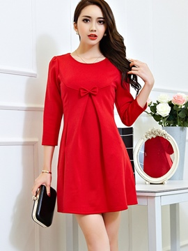 Ericdress Plain Bowknot Round Neck Casual Dress