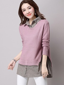 Ericdress Loose Color Block Casual Knitwear
