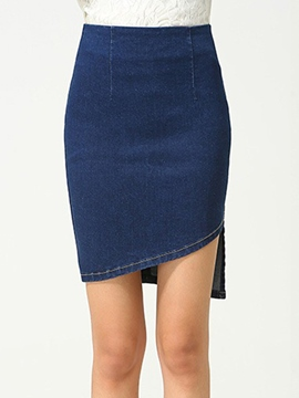 Ericdress Solid Color Asymmetric Denim Skirt