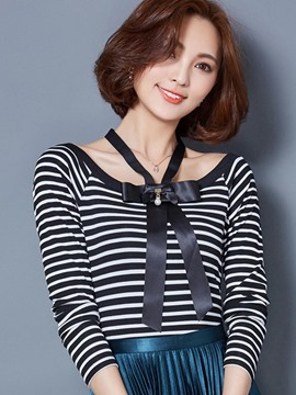 Ericdress Color Block Stripped Bowknot Slim T-Shirt