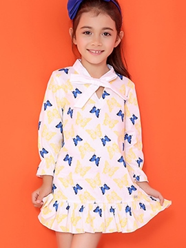 Ericdress Bowknot Collar Falbala Bottom Animal Printed Girls Dress