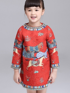 Ericdress Jacquard Long Sleeve Girls Dress