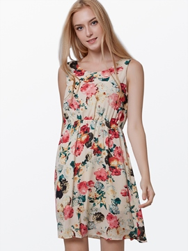 Ericdress Print Sleeveless Dress
