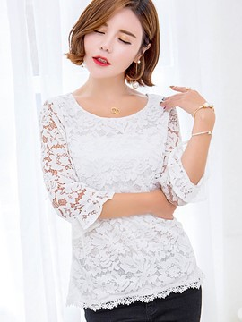 Ericdress Plain Lace Slim Blouse