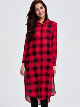 Ericdress Color Block Plaid Long Blouse