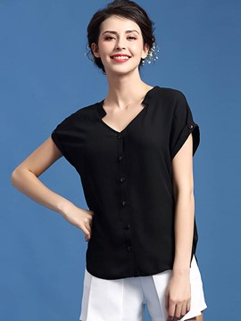 Ericdress Solid Color V-Neck Single-Breasted Blouse