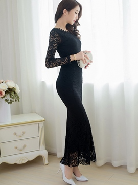Ericdress Plain Long Sleeve Round Neck Maxi Dress