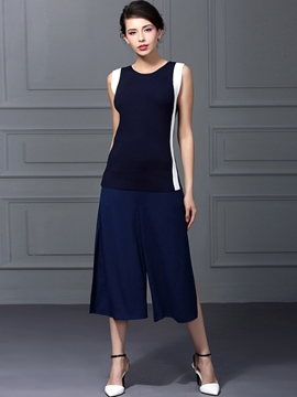 Ericdress Casual Color Block Two-Piece Suit
