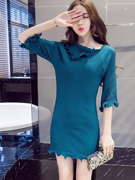 Ericdress Plain Half Sleeve Sweater Dress