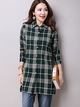 Ericdress Loose Plaid Single-Breasted Blouse