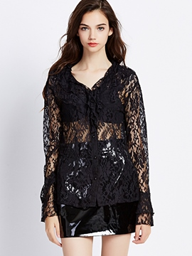Ericdress Lace See-Through Loose Blouse