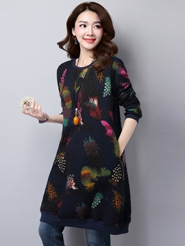 Ericdress Autumn Thick Round Neck Print Loose Casual Dress
