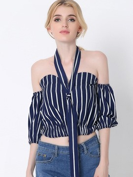 Ericdress Stripped Off-Shoulder Blouse