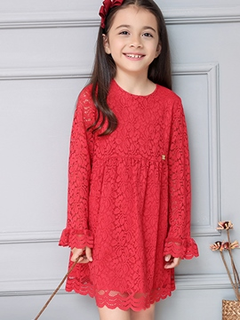 Ericdress Lace Hollow Plain Tee Pleated Girls Dresses