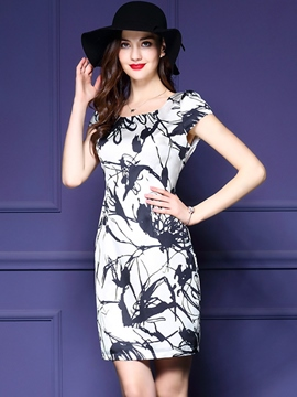 Ericdress Round Neck Print Summer Bodycon Dress